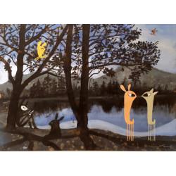 Guspis en el lago, cuadro de V. Linares