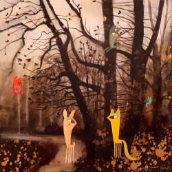 Pareja en el bosque, cuadro de Vane