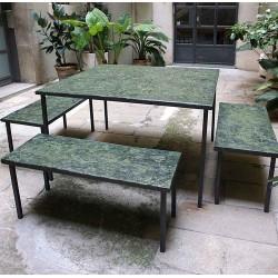 EMPREINTES Green table et bancs de Josep Cerdá