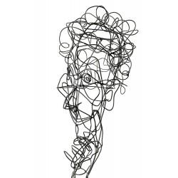 Sculpture en fil de fer Visage 06