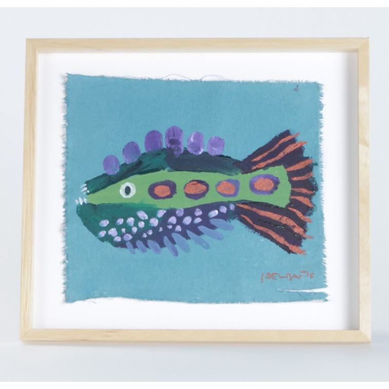 FUNNY FISH 05 painting, small creative artwork