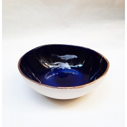 COBALT KOI FISH bol, cuenco cermica azul cobalto decorado de carpas koi