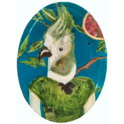CURIOSITÉ PARROT painting, Parrot potrait painting by K. Fabrizzi