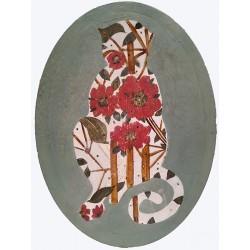 MONKEY'S SILHOUETTE tableau, petite toile rprésentant une sihouette de singe fleurie par K. Fabrizzi