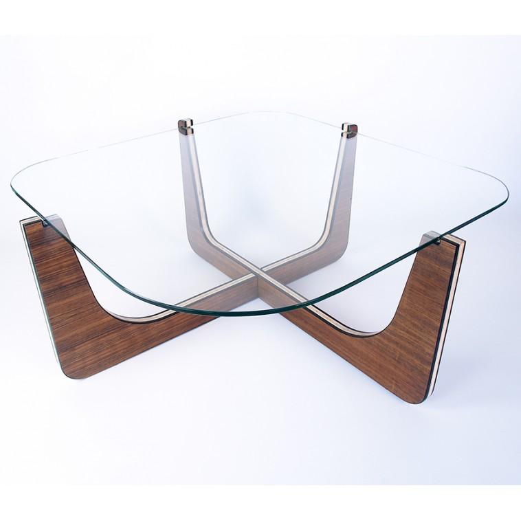CROSS mesa de centro en madera y cristal de diseño original
