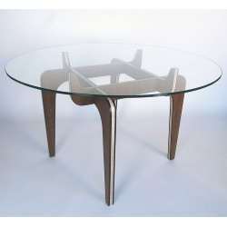 DINNERS CLUB circular dining table, with wood base and glass table top