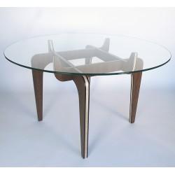 DINNERS CLUB table à manger circulaire avec pied en bois et plateau en verre