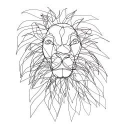 TÊTE DE LION faux-trophée en fil de fer