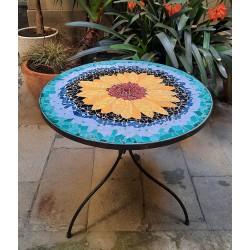 SUNFLOWER-Tournesol table ronde en mozaique