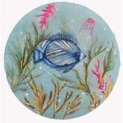 BLUE 02 small circular painting