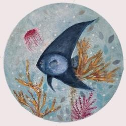 BLUE 04 circular painting by Karenina Fabrizzi