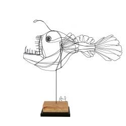 POISSON DIABLE sculpture en fil de fer de A. Twoze