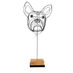 BULLDOG CABEZA escultura en alambre