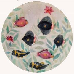 DEEP BLUE 02 circular artwork painting by Karenina Fabrizzi