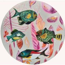 DEEP BLUE 04 circular artwork painting by Karenina Fabrizzi